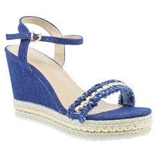 womens denim heels strappy studs wedges sandals distressed
