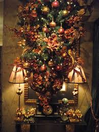 upside down christmas tree decorated in brown copper and red