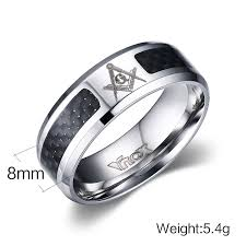 black men rings images Vnox masonic men ring stainless steel carbon fiber 8mm punk jpg