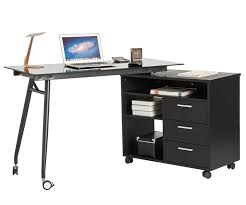 Laptop Desk With Speakers L Shape Black Glass Portable Office Desk Computer Pc Laptop Desk