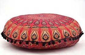 Ottoman Pillow Cushion by Large Indian Mandala Floor Pillow Round Meditation Cushion Covers