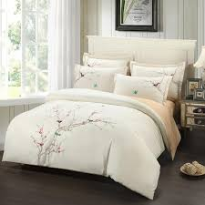 Beige Bedding Sets 2018 Embroidery Plum Tree Magpie Birds Cotton Bedding Sets Elegant