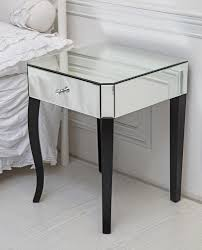 Bedside Table Ls Single Drawer Venetian Mirrored Glass Side Table With Contrasting