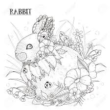 adorable rabbit coloring exquisite style royalty free