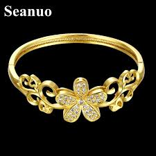 s day charm bracelet seanuo exquisite opening flower yellow gold bangles jewelry women