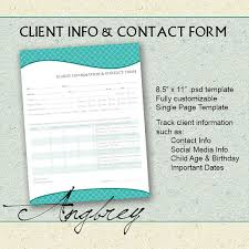 Client Information Sheet Template Client Info Contact Form For Photographers Client