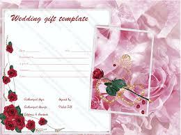 wedding gift card amount pink wedding gift certificate template