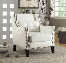White Leather Accent Chair Accent Chairs Traditional White Accent Chair With Nail Trim