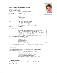 Curriculum Vitae Samples In Pdf by Best Photos Of Template South Africa Curriculumvitae Cv Template