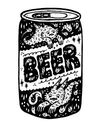 cartoon beer can say u0027hay u0027 to printmaker artist and cat enthusiast