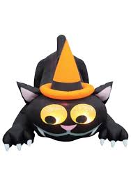 animated blow up black cat w hat inflatable lawn decoration