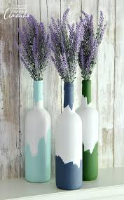 Upcycled Wine Bottles - painted wine bottles an easy upcycled wine bottle craft