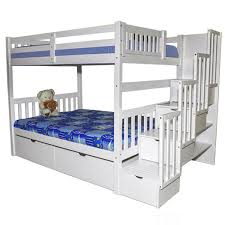 White Full Stairway Bunk Bed Bellagio Stairs Kids Steps Beds - Stairs for bunk beds