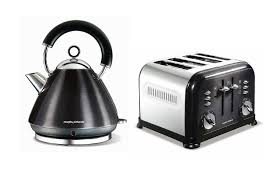 morphy richards metallic accents kettle and retro 4 slice toaster