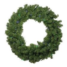 24 battery operated canadian pine led artificial wreath