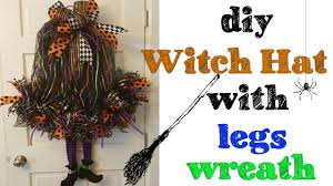 Halloween Wreath Witch Legs Diy Witch Hat With Legs Wreath Youtube