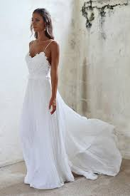 wedding dress simple a line spaghetti straps open back summer wedding dress