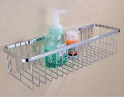 Bathroom Storage Shelves With Baskets by Amazon Com Rectangular Shower Caddy Stainless Steel Wall Mount