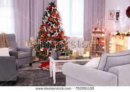 beautiful decorated living room christmas tree stock photo