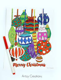 free ornament coloring page artzycreations