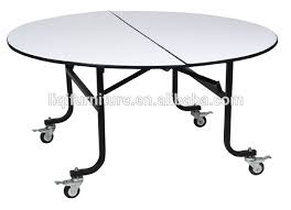 Folding Table On Wheels Movable Round Banquet Table With Wheels Qz6091s View Movable