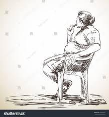 sketch man sitting on chair hand stock vector 378354400 shutterstock
