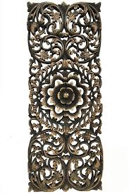 floral tropical carved wood wall panel asian wall home decor