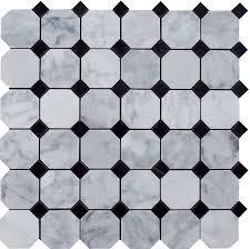 bianco carrara white marble 2 octagon polished mosaic tile