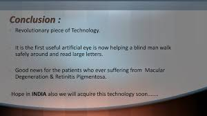 Artificial Eye For Blind Bionic Eye Powerpoint Slides
