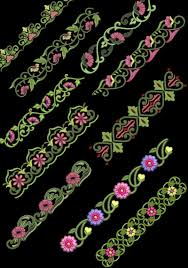 floral borders machine embroidery design cd 4x4 for