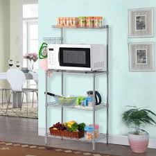 Wood Bakers Rack Microwave Bakers Rack With 3 Tier Spice Storage Organizer And