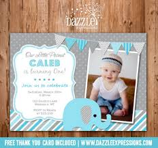 printable blue and gray elephant birthday invitation photo
