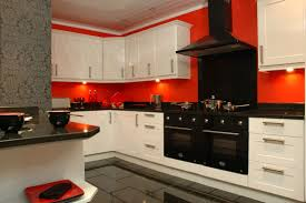 Red Kitchen Tile Backsplash by Red Kitchen Ideas Dark Brown Wooden Laminate Bar Stools Square