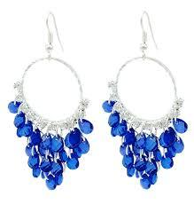 blue earrings navy blue chandelier hoop earrings lightweight