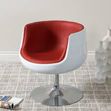 Red Leather Swivel Chair by Corliving Mod Modern Red And White Bonded Leather Swivel Barrel