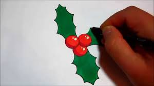 how to draw holly for christmas simple design youtube