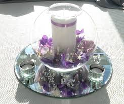 fish bowl centrepiece with hydrangeous candle tea lights and