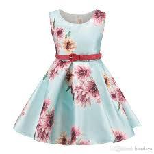 light blue dresses for kids 2018 2017 girls flower dresses kids casual clothes children summer