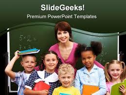 students with teacher education powerpoint template 0810