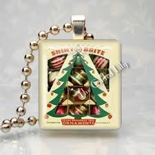 ornaments vintage shiny brite scrabble tile pendant