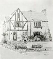 House Architecture Drawing Custom House Portrait Drawing Of House In By Maryfrancessmith
