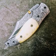 hometown knives hts 602 440c hand engraved folder high end art handcrafted hometown
