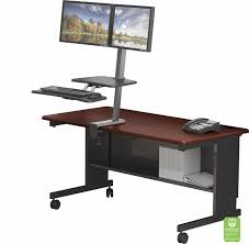Computer Desk Dual Monitor Mounted Sit Stand Workstation Dual Monitor