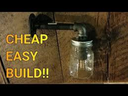 diy mason jar light with iron pipe cheap easy diy iron pipe mason jar light fixture youtube