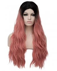 black at root of hair ombre black root light pink as smoke hair slight wavy long women wig