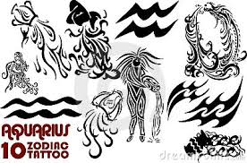 aquarius sun sign tattoos designs