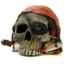 blue ribbon pet products environments pirate skull ornament