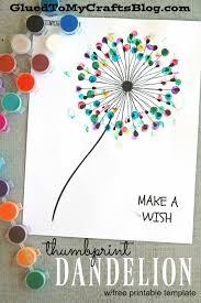 thumbprint dandelion kid craft w free printable dandelions