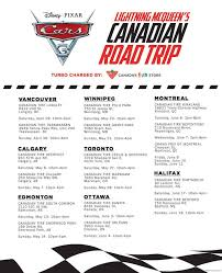 lightning mcqueen s epic road trip at canadian tires across canada