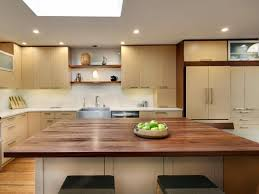modern kitchen design with black walnut butcher block countertop